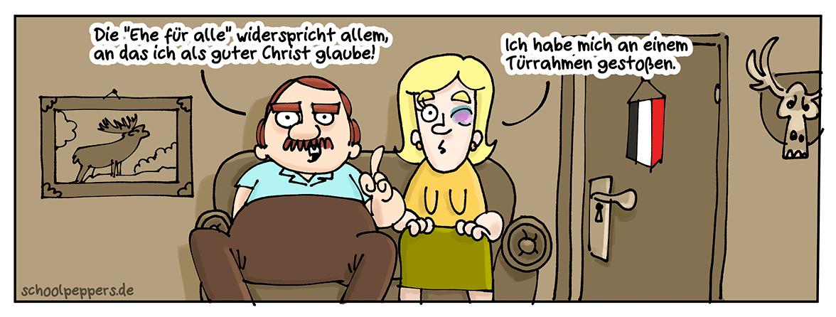 Cartoon und Ehe für alle.